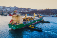 AAL Dampier Delivers 13 Monster Trucks (160mt each) to Nakhodka in Russia
