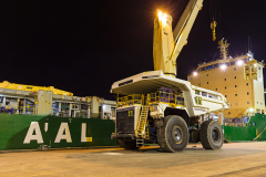 AAL Dampier Loading Giant Haul Trucks in Bunbury Port, AUS