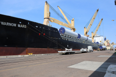 Warnow Mars - Discharging 30 units of  Windmill Tower Sections (75t) in San Diego