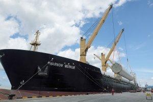 Warnow Merkur - Discharging 9 Sets of 135m Towers in Makassar, Indonesia