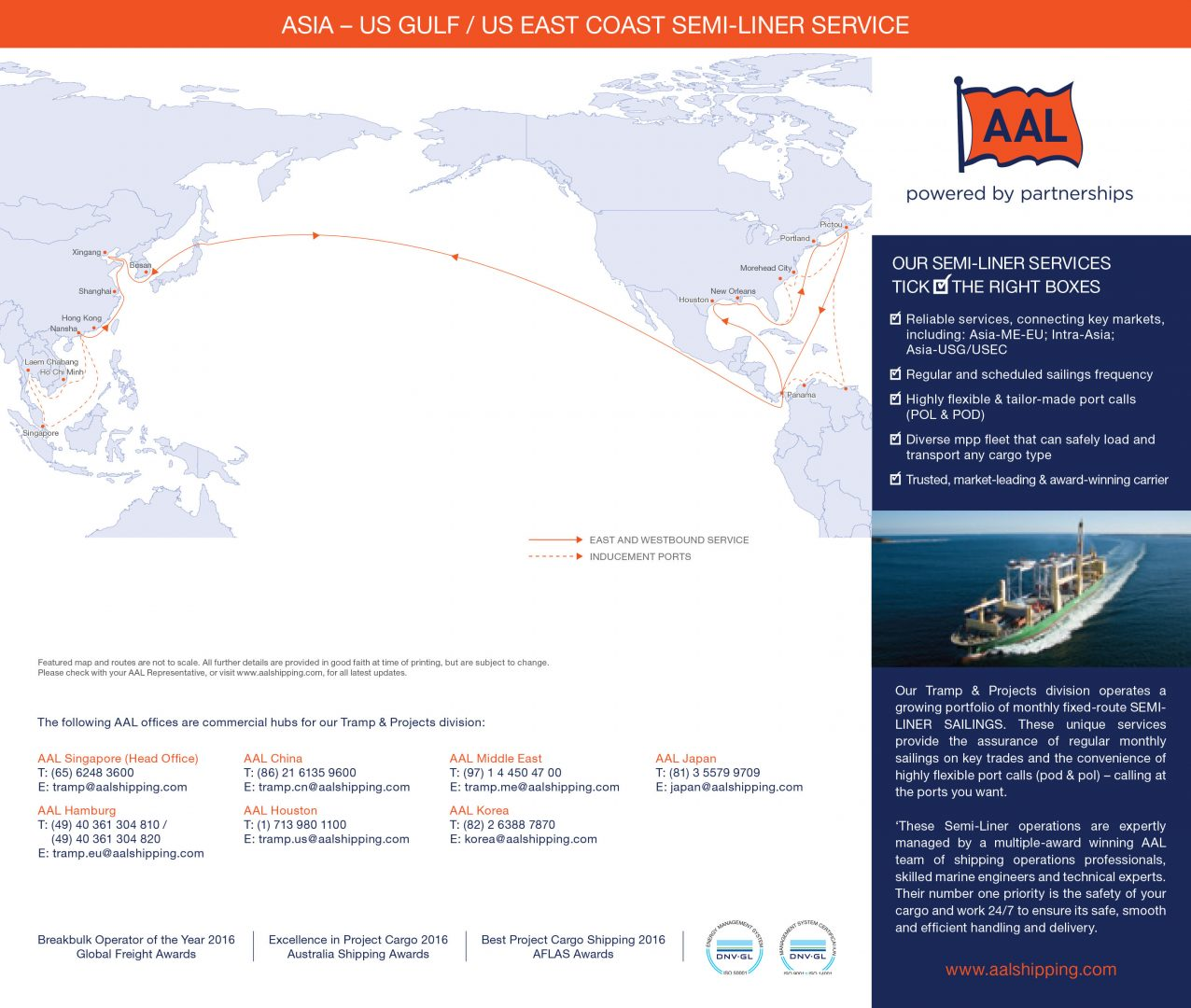Asia - US Gulf / US East Coast Semi-Liner Service Route Map
