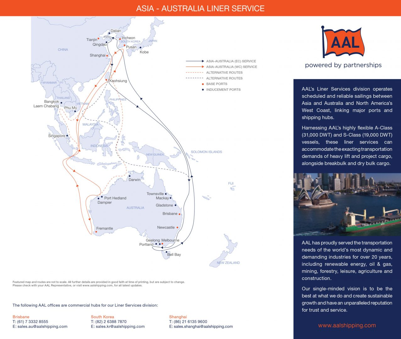 Asia - Australia Liner Service Route Map