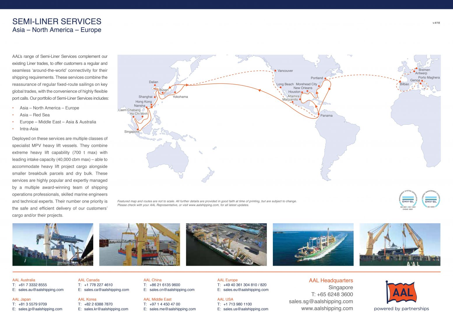 ASIA – NORTH AMERICA – EUROPE SEMI-LINER SERVICE ROUTE MAP