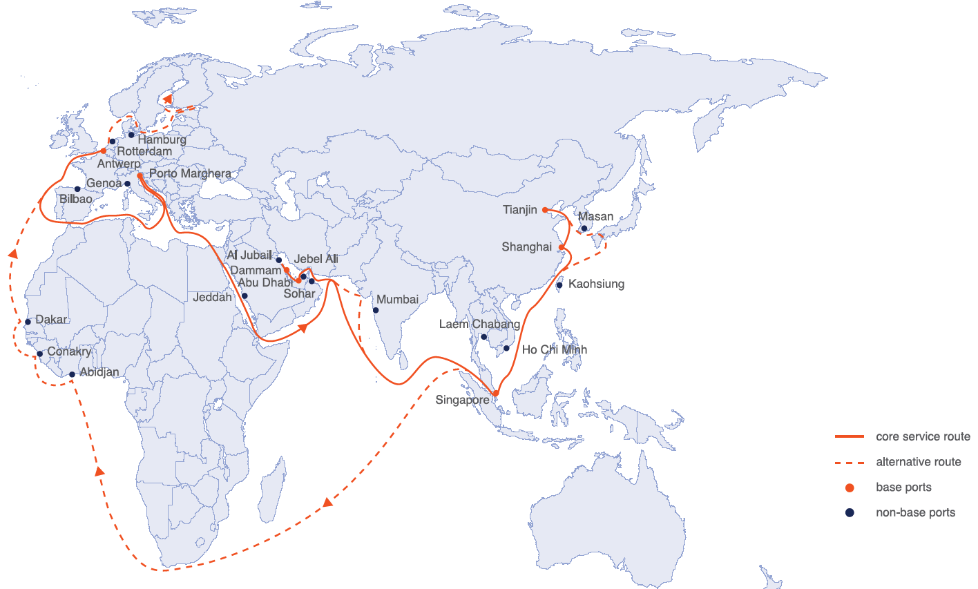 Europe India Asia liner