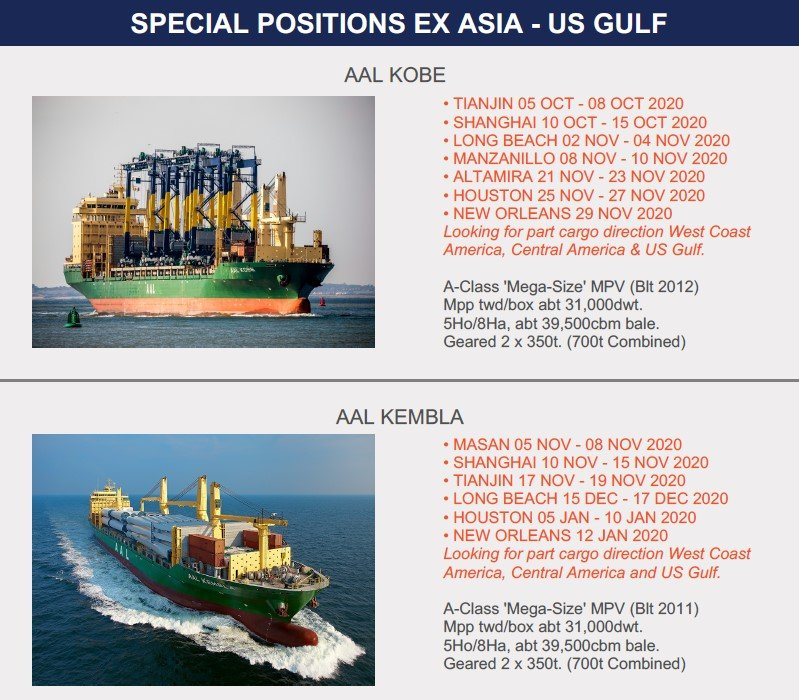 SPECIAL POSITIONS ASIA - US GULF (18.09.20)