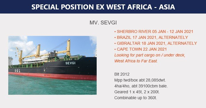 SPECIAL POSITION EX WEST AFRICA - ASIA (05.01.20)