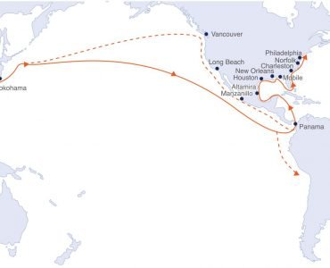Asia-Americas Trade Route Map