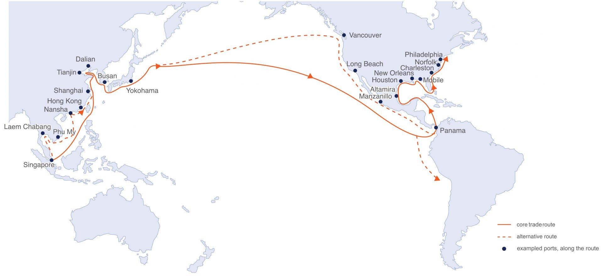 ASIA – AMERICAS TRADE ROUTES SAILINGS (27.04.21)